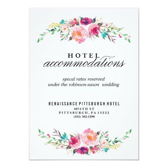 Bohemian Floral Wedding Hotel Card