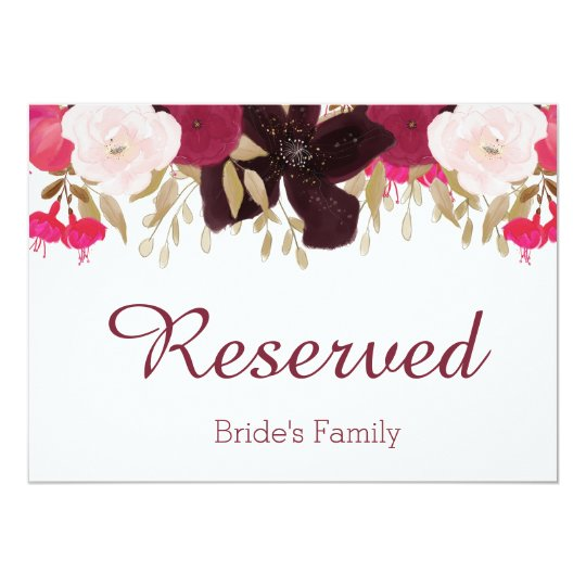 "Bohemian Floral Wedding ""Reserved"" Sign Card"
