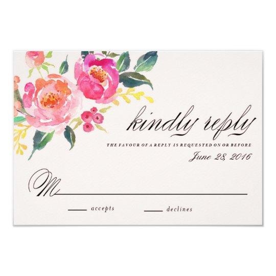 Bohemian Floral Wedding response card