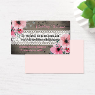 Bohemian Floral Wedding Website Cards Rustic Wood