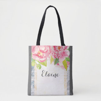 Bohemian floral with pink peonies tote bag