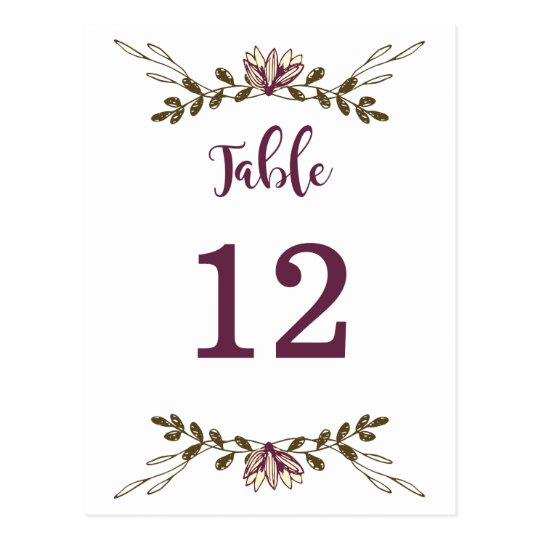 Bohemian Floral Woodland Table Numbers Postcard
