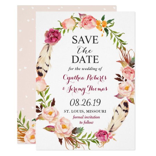 Bohemian Floral Wreath Feather Boho Save the Date