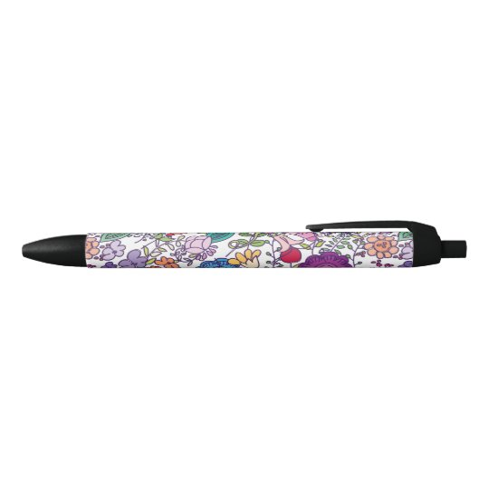 bohemian flower pattern black ink pen