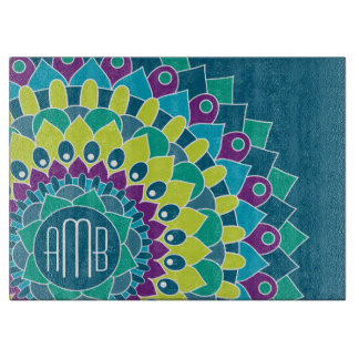 Bohemian Flower with Monograms Cutting Board