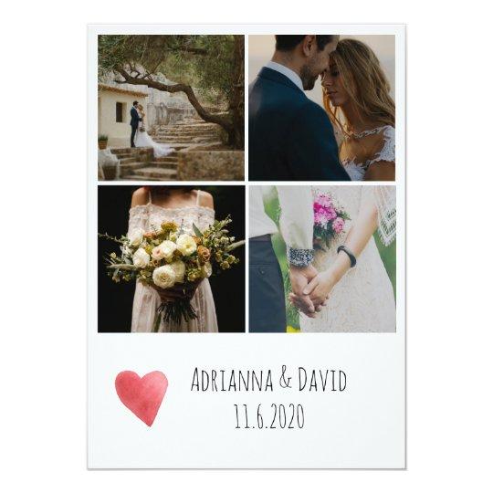 Bohemian Four Photos Wedding Thank You Card