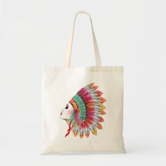 Bohemian Girl Fashion Illustration Tote Bag