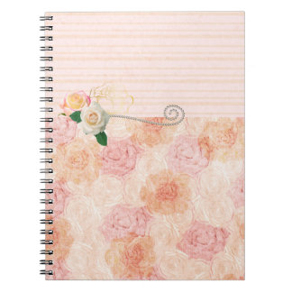 Bohemian Girly Design with Pink Roses Notebooks