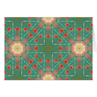 Bohemian Glam Turquoise Coral Starbursts NT Card