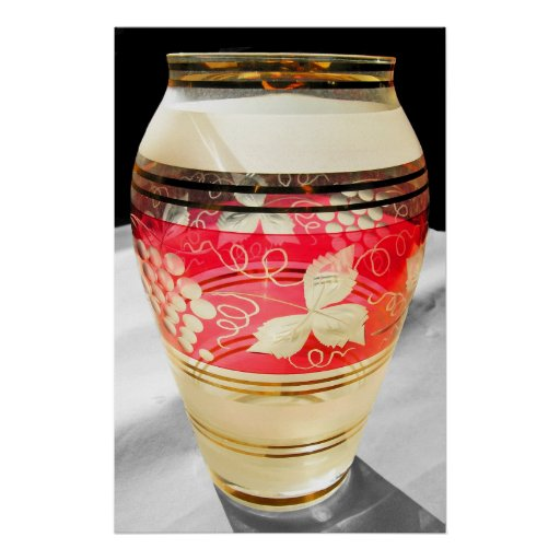 Bohemian Glass with Flower Pattern, Natural Colour Posters