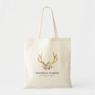 Bohemian Gold Antlers with Flowers Tote Bag