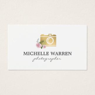 Bohemian Gold Camera Flowers Photographer Business Card