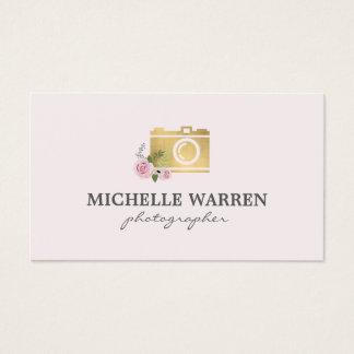 Bohemian Gold Camera Flowers Pink Photographer Business Card
