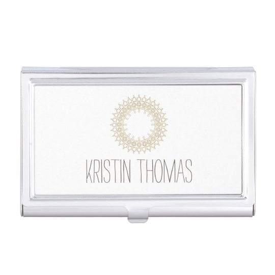 Bohemian Gold Sun Mandala Business Card Holder