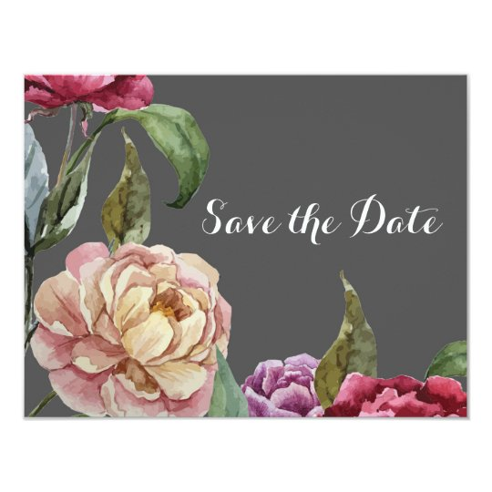 Bohemian Grey & Purple Floral Save the Date