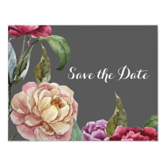 Bohemian Grey & Purple Floral Save the Date Cards 11 Cm X 14 Cm Invitation Card