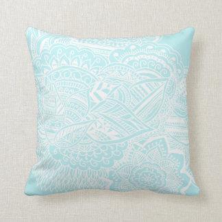 Bohemian Hand Drawn Doodle Mint Blue Throw Pillow