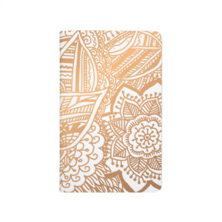 Bohemian Hand Drawn Doodle Rose Gold Girly Journal