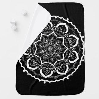 Bohemian Hand Drawn Mandala Black White Baby Blanket
