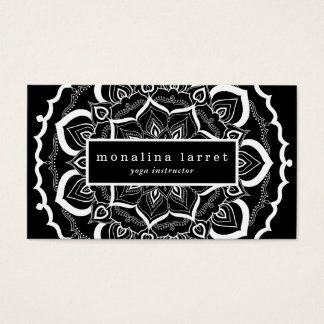 Bohemian Hand Drawn Mandala Black White Business Card