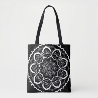 Bohemian Hand Drawn Mandala Black White Tote Bag