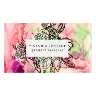 Bohemian handdrawn abstract watercolor paint pack of standard business cards