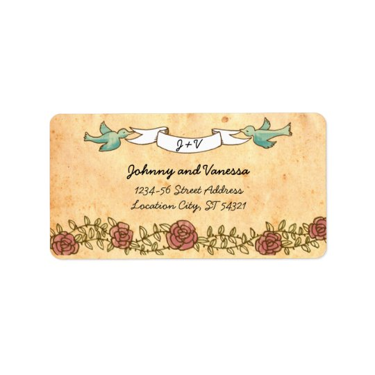 Bohemian Heart, Roses, Birds, & Banner Wedding Address Label
