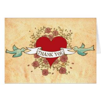 Bohemian Heart, Roses, Birds, & Banner Wedding Card