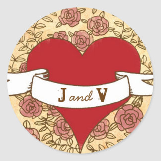 Bohemian Heart, Roses, Birds, & Banner Wedding Classic Round Sticker