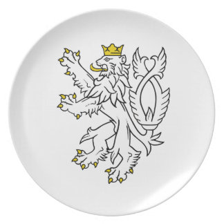Bohemian heraldic lion plate