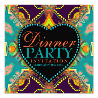 Bohemian Hippie Batik Dinner Party Invitations