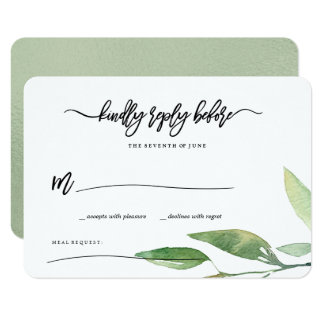 Bohemian Leaves RSVP Card