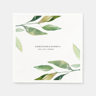 Bohemian Leaves Wedding Napkin Paper Napkin
