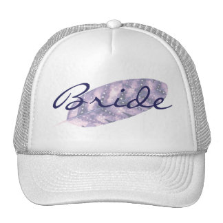 Bohemian Love Watercolor Feather Wedding Purple Cap