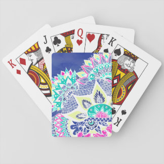 Bohemian navy floral mandala paisley watercolor poker deck
