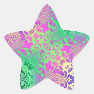 bohemian neon green Fuschia damask pattern Star Sticker