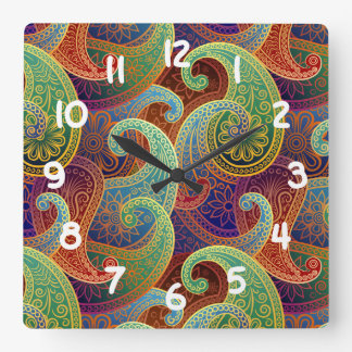 Bohemian Paisley Timeless Pattern Square Wall Clock
