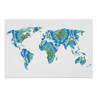 Bohemian Patterned World Map | Traveler | Poster