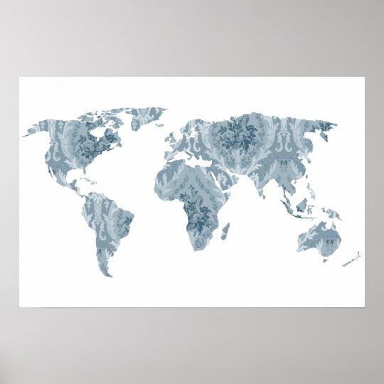 Bohemian Patterned World Map   Traveller   Poster