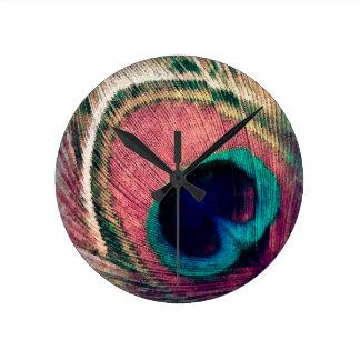 Bohemian Peacock Round Clock