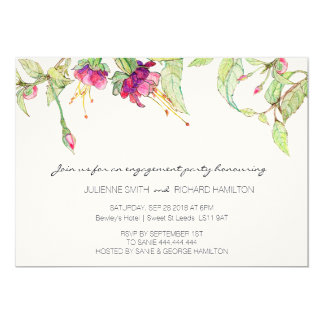 Bohemian Pink Floral Engagement Party Invitation