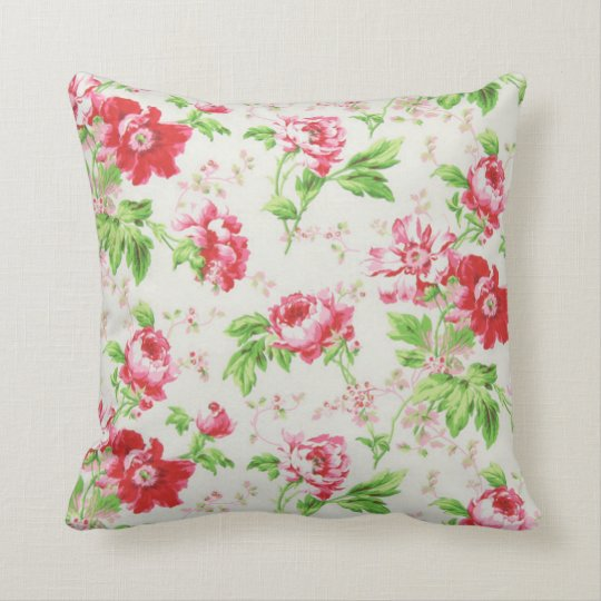 Bohemian Red Peony Flowers Modern Pillow