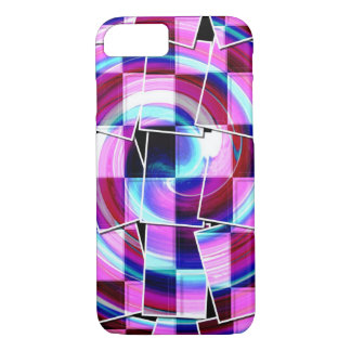 Bohemian Retro Mod Purple fuschia squares pattern iPhone 8/7 Case