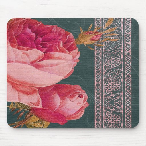 BOHEMIAN ROSE in ROSY PINK and TEAL BLUE Mouse Pad