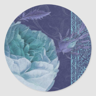 BOHEMIAN ROSE in Turquoise and Blue Round Sticker