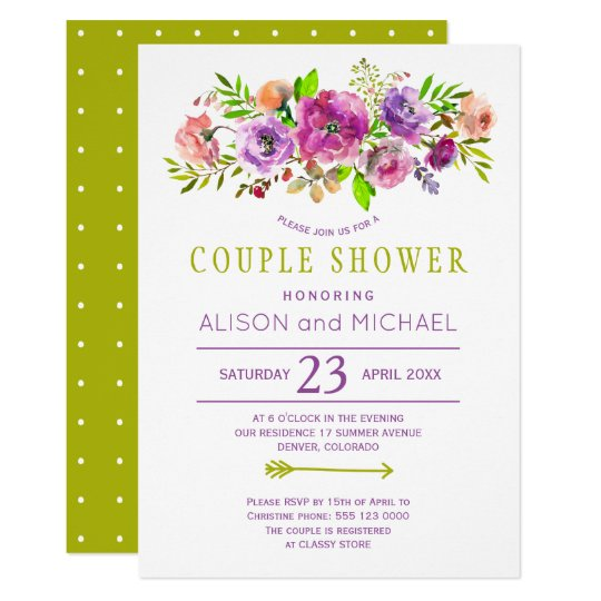 Bohemian rustic purple green floral couple shower card