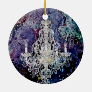 Bohemian Shabby Chic purple watercolor Chandelier Christmas Ornament