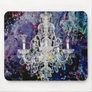 Bohemian Shabby Chic purple watercolor Chandelier Mouse Pad