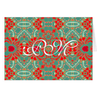 Bohemian Sophisticated Turquoise Coral Floral Card