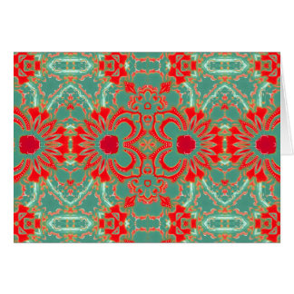 Bohemian Sophisticated Turquoise Coral Floral NT Card